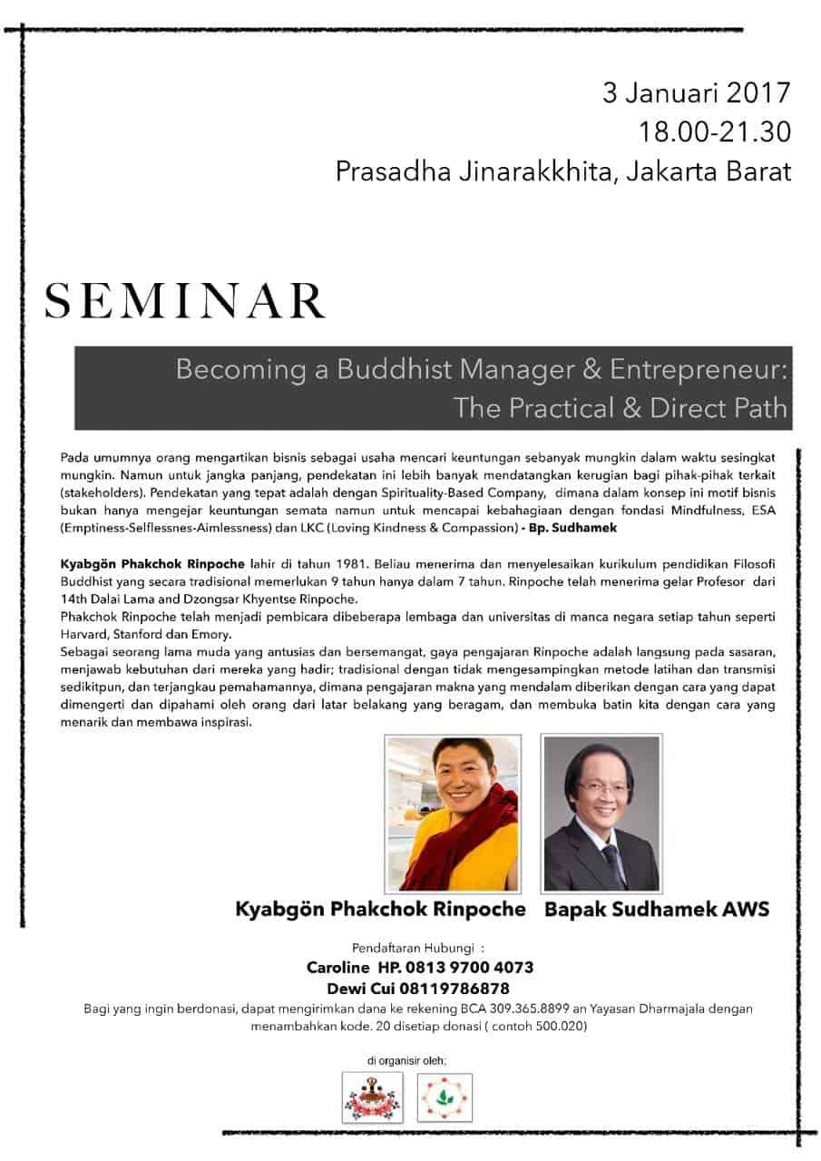 Seminar with Kyabgon Phakchok Rinpoche & Pak Sudhamek on