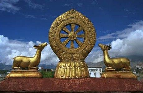 Dharma wheel and pair of deer