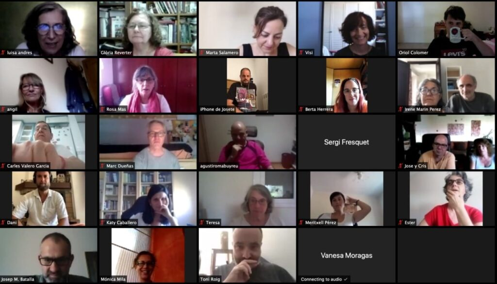 New Dharma Stream members at Barcelona, Spain discussing the first video of the Dawn of Dharma series.