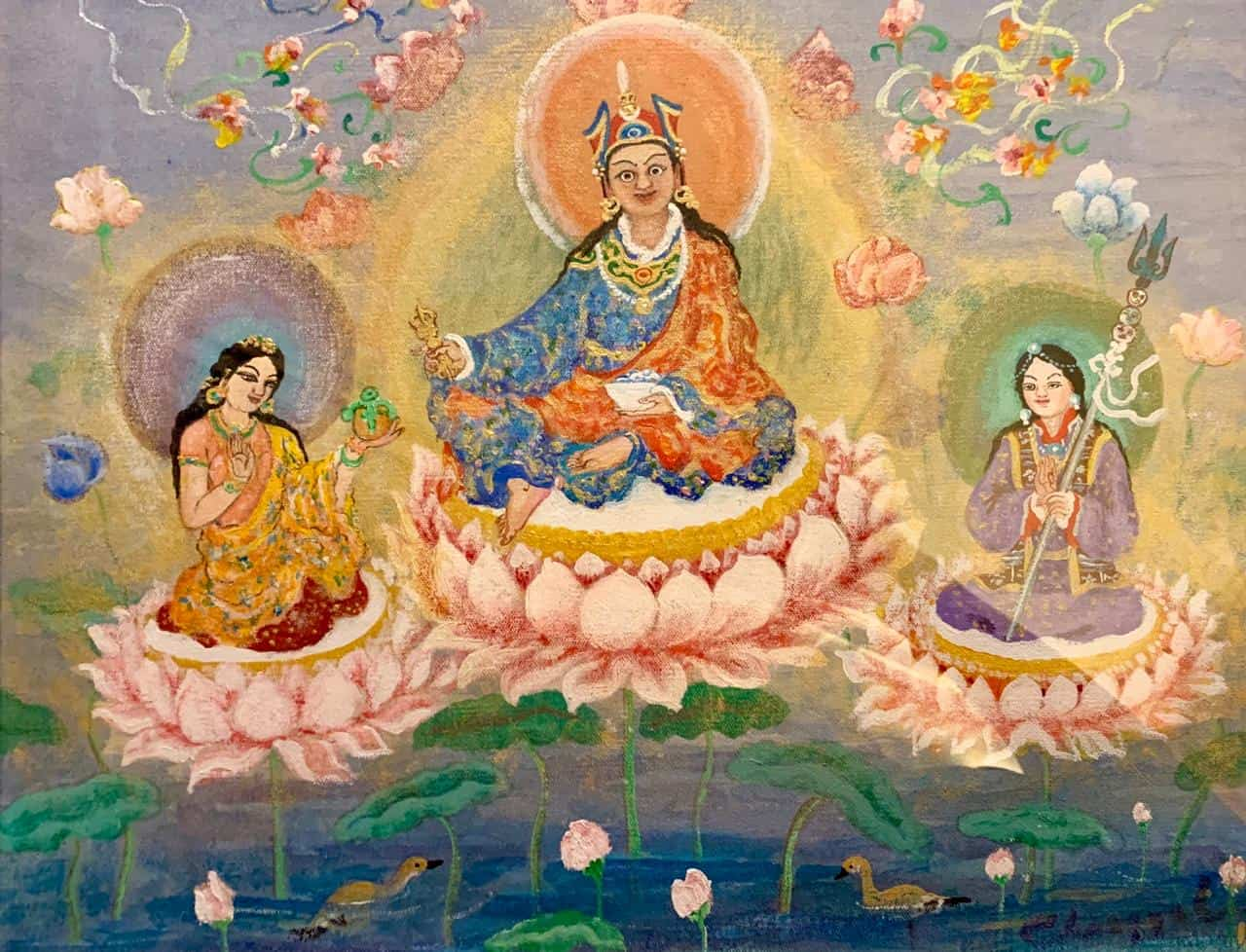 Guru Rinpoche with two of his heart disciples.